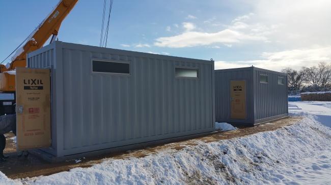 各務原運動公園内に設置したコンテナの防災倉庫