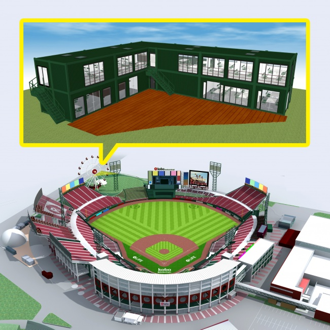 スタジアムとカフェのイメージです。