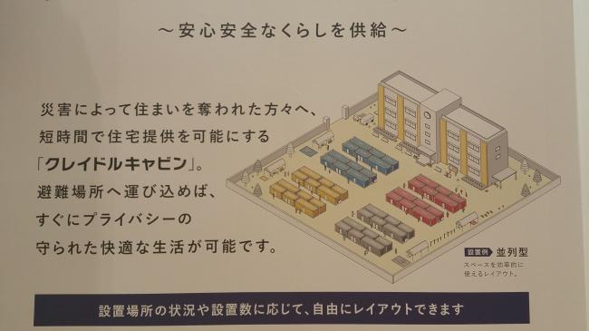 災害時宿泊ユニットコンテナの配列イメージ